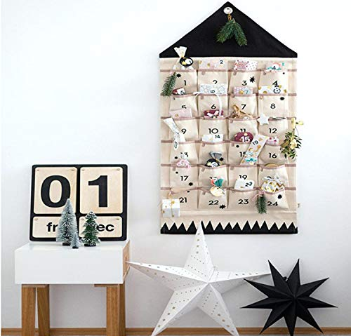 JapanAmStore Christmas Advent Calendar with Pockets Wall Hanging, Gift Bag Organizer