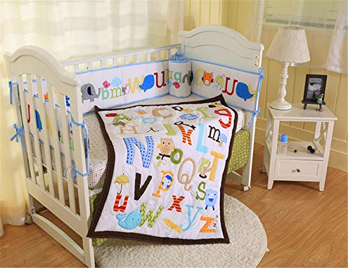 Spring Baby Alphabets A-z Colorful Crib Bedding Set 7 Piece for Baby Boy and Girl, Including Bumper Pads ()