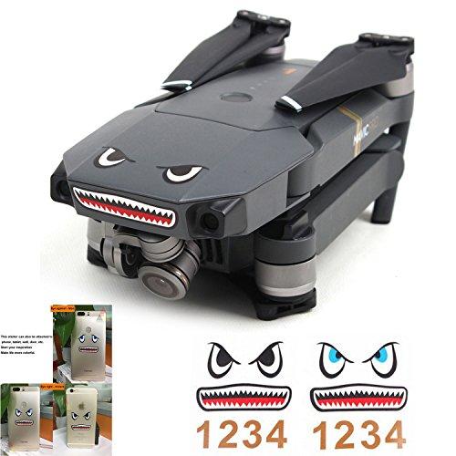 Threeking Mavic Pro & Spark Body & Battery Skin Sticker Shark Face Decal Drone Sticker 3M Waterproof DJI Accessories Phone Pad Tablet Sticker Decal(2 Pcs)