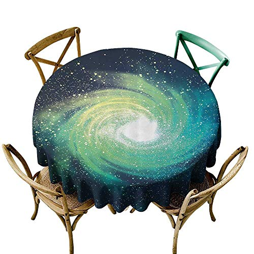 one1love Stain Resistant Round Tablecloth Home Decor Collection Outer Space Themed Image Spiral Galaxy Stardust with Light Astromony Cosmos Milkway Stars Stain Resistant, Washable 55 INCH Navy Teal