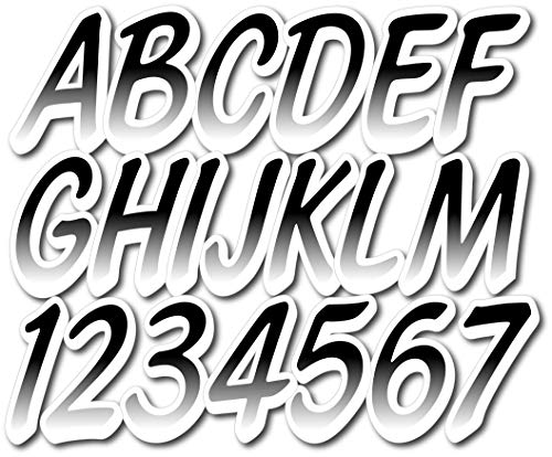 "Stiffie Whipline Black/White 3"" Alpha-Numeric Registration Identification Numbers Stickers Decals for Boats & Personal Watercraft"