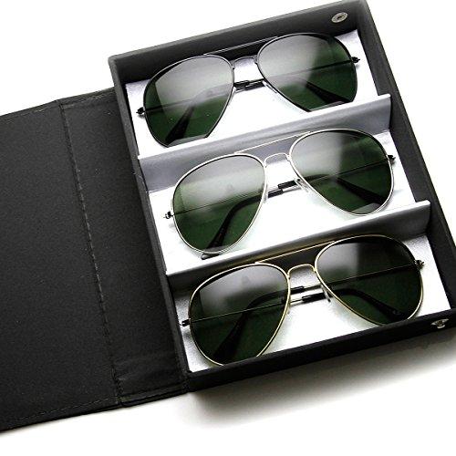 zeroUV - Original Classic Metal Standard Aviator Sunglasses - Nickel Plated Frame (Deluxe|Black 3-Pack - Optics Aviator