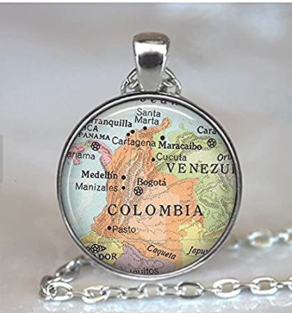 Colombia map pendant, Colombia map necklace, Colombia pendant, Colombia necklace map jewelry travel
