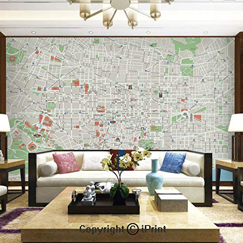 Lionpapa_mural Removable Wall Mural Ideal to Decorate Your Dining Room,Map of Barcelona City Streets Parks Subdistricts Points of Interests Decorative,Home Decor - 100x144 inches