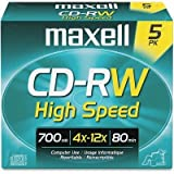CD-RW Rewritable Discs - 700MB/80min, 12x, with Jewel Cases, Gold, Five/Pack(sold in packs of 3)