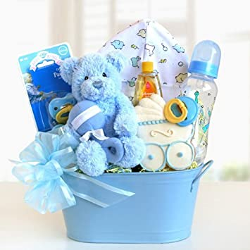 Amazon.com : Welcome Baby Newborn Baby Blue Gift Basket for Baby ...
