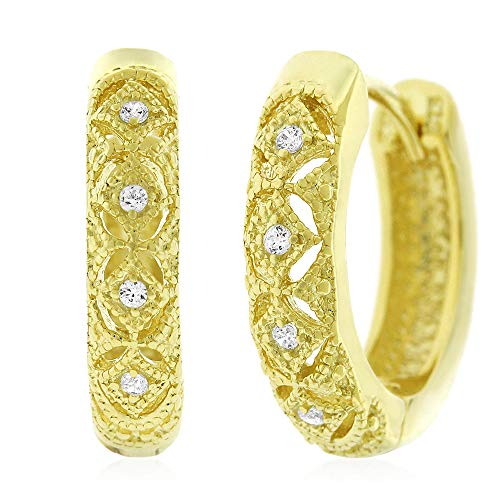 .925 Sterling Silver Womens Fancy Cubic Zirconia CZ Pattern Micro Pave Small Round Huggie Hoop Earrings (Yellow) - Pave Pattern