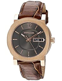 WITTNAUER Men's WN1002 22mm Leather Crocodile Brown Strap Watch
