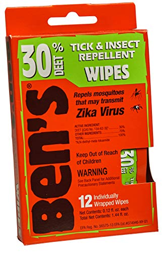 Ben's 30% DEET Mosquito, Tick and Insect Repellent Wipes, Pack of 48