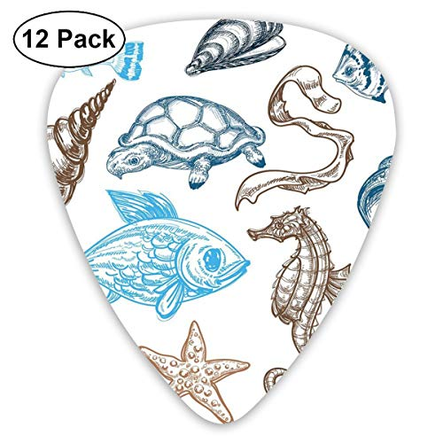 Celluloid Guitar Picks - 12 Pack,Abstract Art Colorful Designs,Underwater Marine Life Aquatic Fish Shell Jellyfish Oyster Squid Seahorse Motif,For Bass Electric & Acoustic Guitars.