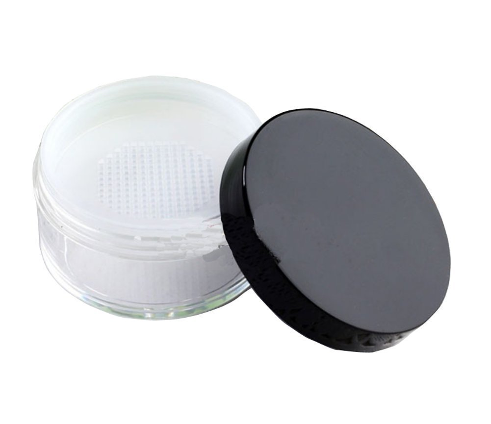 60g Empty Clear Foundation Make-up Powder Puff Box Case Container with Powder Puff Sifter and Black Screw Lip