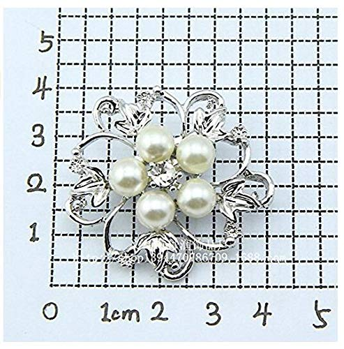Nicedeal NEW SILVER TONE FAUX PEARL BROACH RHINESTONE CRYSTAL FLOWER LEAF BROOCH WEDDING Make-up Tools and Brushes for Beauty
