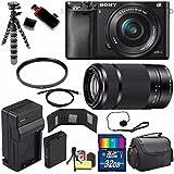 Sony Alpha a6000 Mirrorless Digital Camera with 16-50mm Lens (Black) + Sony E 55-210mm f/4.5-6.3 OSS E-Mount Lens 32GB Bundle 20 - International Version (No Warranty)