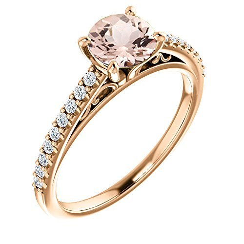 - GNGJewel Morganite Collection 6mm Round Natural Moragnite and Diamond Cathedral Style Engagement Ring in 10K Rose Gold (7)