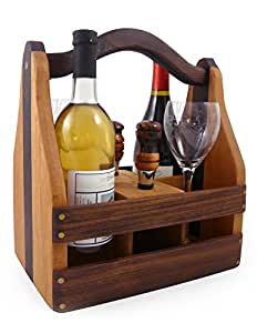 American Made Convertible Beer and Wine Caddy, Cherry and Walnut Wood with 2 Wine Stoppers