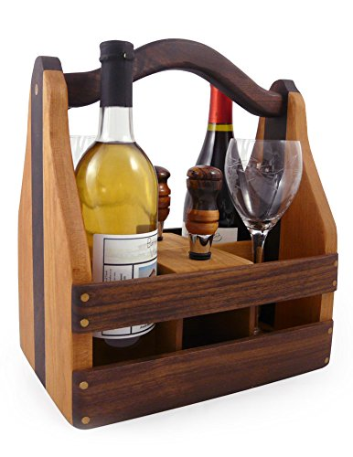 American Made Convertible Beer Case and Wine Caddy, Cherry and Walnut Wood with 2 Wine Stoppers by Modern Artisans