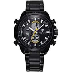 DEHANG Weide WH 3410 Mens Watch Luxury Brand Analog Digital Watch Multiple Time Zone Display Watch with Yellow Pointer