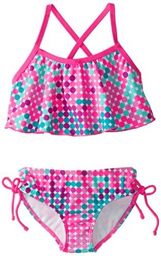 Kanu Surf Little Girls' Nikki Flounce Bikini Swimsuit, Pink/Multi, 4