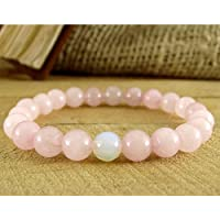 piyada Womens Rose Quartz Moonstone Beaded Bracelet Fertility Yoga For Girl Healing