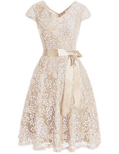 Bridesmay Women#039s Short Bridesmaid Dresses Embroidered Floral Lace Dress with Cap Sleeve