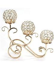 Ruixf 3 ramiona kryształowe świeczniki na świeczki na ślub jadalnia stolik kawowy przyjęcie dekoracyjne elementy centralne, Boże Narodzenie dekoracja domu świeczniki (złoty)