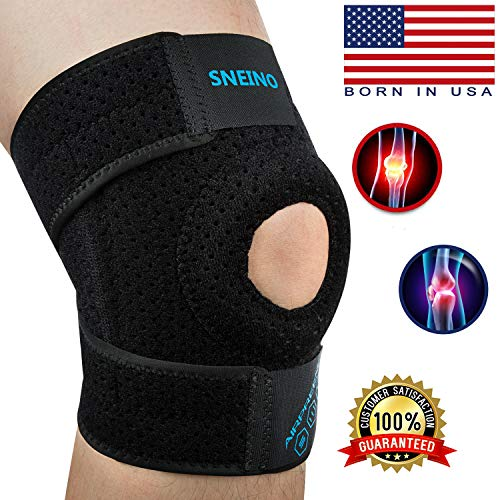 SNEINO Knee Brace Adjustable Open Patella,Knee Brace for Meniscus Tear,Knee Brace for Arthritis Pain and Support,Knee Brace with Dual Side Stabilizers,Kids Knee Brace,Patella Stabilizing