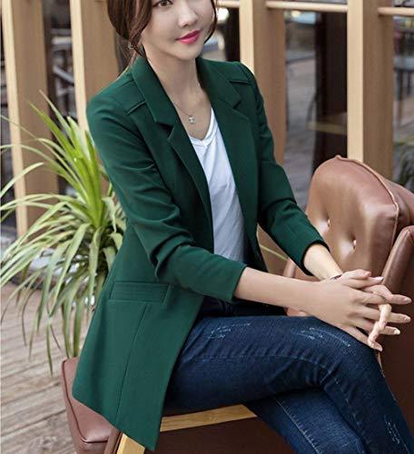 Giacca Slim Moda Blazer Fit Maniche Forti Tailleur Giacche Formale Business Chic Lunghe Elegante Ragazza Donna Taglie Ufficio Da Autunno Grün Primaverile Bavero xYYvwUzq7