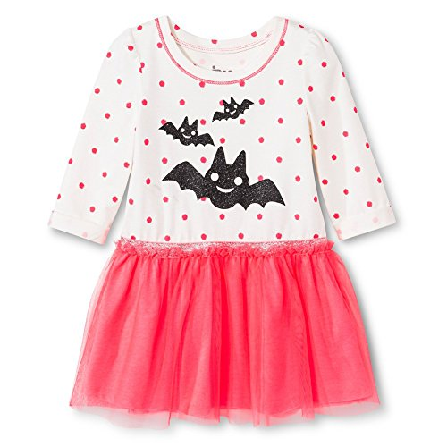 Infant/Toddler Knit Graphic Tutu Dress (4t, Neon Pink Glitter Bat)