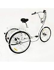 26 inch driewieler voor volwassenen, driewieler voor volwassenen, fiets, 6 gasten, 3 wielen, winkelmandje, wit, belasting 110 kg