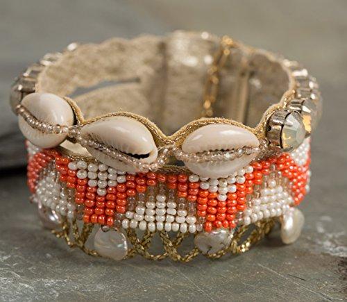 Perles d'eau douce deepa gurnani Cristaux en verre à la main brodé Déclaration poignets de 18cm