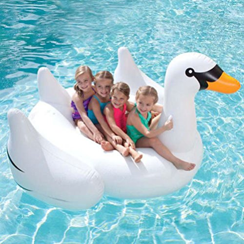 [White Swan Summer Swimming Pool Lounge Float Inflatable Swan Giant Rideable Pool Water Lake Kid] (Adult Floating Ghost Halloween Costumes)