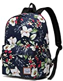 Floral Backpack for Women,VASCHY Water Resistant High School Girls Bookbag Travel Backpack for Teens with Water Bottle Pockets in Navy Flowers