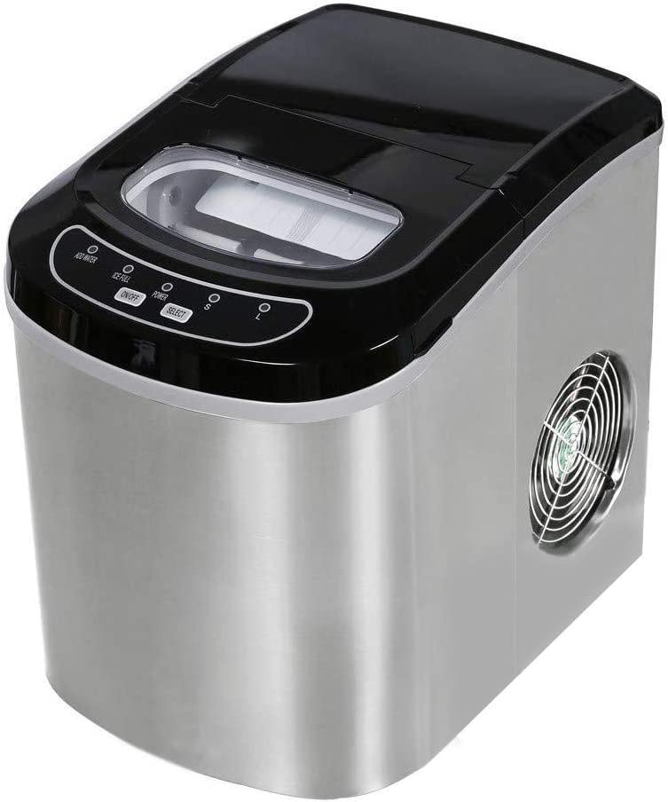 XHCP Commercial Ice Machine, 6-13 Minutes Rapid Ice Making, Desktop Ice Maker, 26.5 Pounds / 24h, No Piping Required.