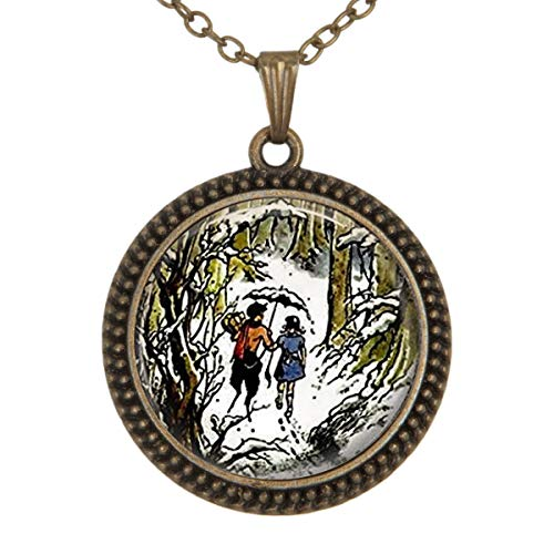 - Family Decor Narnia Jewelry Wearable Art Pendant Necklace Cabochon Glass Vintage Bronze Chain Necklace Jewelry Handmade