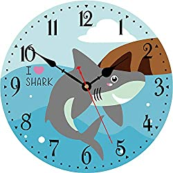 VIKMARI Kids Wall Clock,14 Inch Silent Non-Ticking Quartz Battery Operated Wall Clock,Easy to Read Cartoon Shark Style Wooden Wall Clock for Children's Room,Living Room,Bedroom and Kitchen Decorative