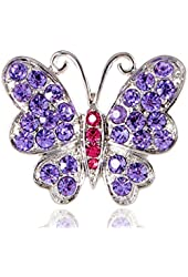Violet Pink Rose Crystal Rhinestone Butterfly Wide Cut Costume Fashionable Ring