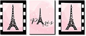 Big Dot of Happiness Paris, Ooh La La - Baby Girl Nursery Wall Art, Kids Room Decor and Eiffel Tower Home Decorations - Gift Ideas - 7.5 x 10 inches - Set of 3 Prints