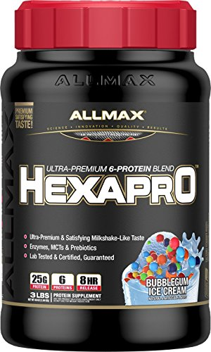 (ALLMAX Nutrition Hexapro Protein Blend, Bubble Gum Ice Cream, 3 lbs)