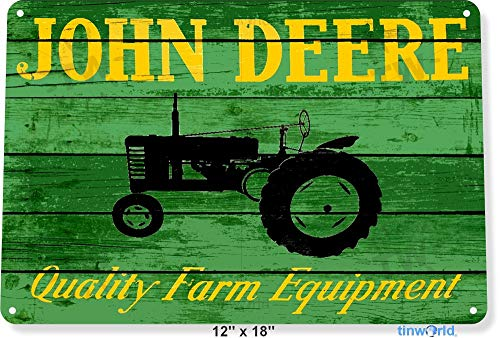 NGFD TIN Sign 8x12 inchJohn Deere Tractor Farm Equipment Tractor Rustic Metal Decor Tinworld B628 (Vintage John Deere Tractor)