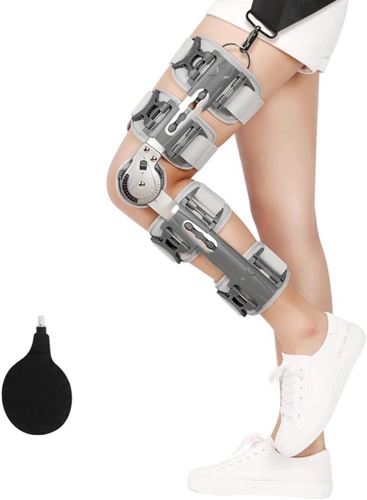 Rodillera con bisagras Inmovilizador de Rodilla Ajustable Gris Brace ortopédico Patas ortopédicas Soporte de rótula Ortesis Estabilizador de la articulación de la Rodilla Fractura Protector Fijo Fér
