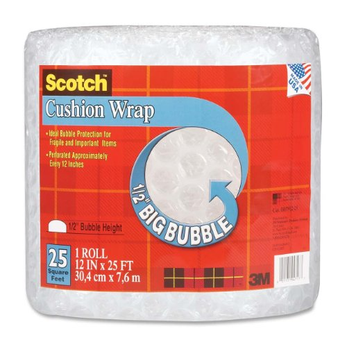 Scotch Bubble Wrap - Scotch Cushion Wrap, 12 Inches x 25 Feet, 1/2-Inch Bubble (BB7912-25)