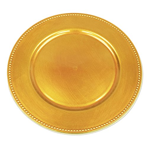 BalsaCircle 6 pcs 13-Inch Gold Crystal Beaded Acrylic Round Charger Plates - Dinner Chargers Wedding Party Supplies (Gold Beaded Dinner)