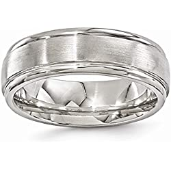 Edward Mirell Gray Bands Men's Titanium Brushed and Polished Finish 7mm Ring, Size 10