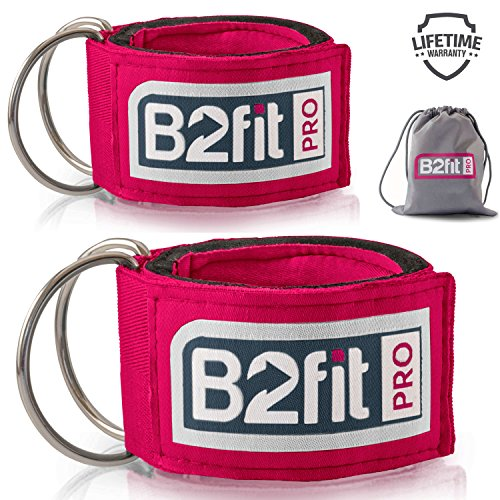 Ankle Straps for Cable Machines by B2FIT PRO - Premium Padded Double D-ring Ankle Cuffs for Gym Workouts - Fitness Equipment for Leg Exercises, Cable Kickbacks, Glutes, Weight Lifting for (Pro Cable Crossover)