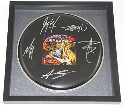 Sevenfold City of Evil Group Hand Signed Autographed Drum Drumhead Framed Loa