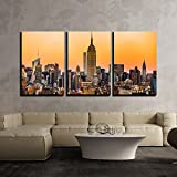 wall26 - 3 Piece Canvas Wall Art - Landscape with Skyscraper at Dawn in New York City - Modern Home Decor Stretched and Framed Ready to Hang - 16''x24''x3 Panels