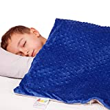 Calming Weighted Blanket for Kids - Children Heavy Blanket for Sleeping with Minky Cover - Small Kid Comfort Sensory Blankets - Premium Quality for Boys (Blue, 7 Lbs 41'' x 60'')