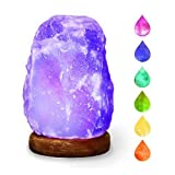 HOCINA Natural Himalayan Rock Salt Mini Lamp Multi Color Change with Wood Base, USB Powered & LED (Bulbs Included) For Baby Room 1.8lbs 4 inch