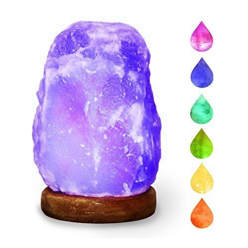 HOCINA Natural Himalayan Rock Salt Mini Lamp Multi Color Change with Wood Base, USB Powered & LED (Bulbs Included) For Baby Room 1.8lbs 4 inch by Hocina (Image #5)