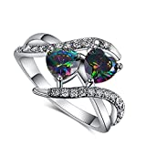 Psiroy 925 Sterling Silver Created Rainbow Topaz Filled Bypass Band Double Heart Promise Ring